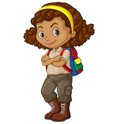 African american girl with backpack vector image