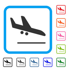 aiplane landing framed icon vector image