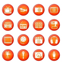 Audio and video icons set vector