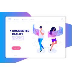 Augmented reality banner people with headset and vector