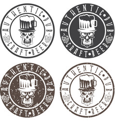 authentic pub vintage labels set with skull hat vector image