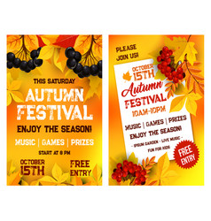 Autumn festival poster of leaf fall vector