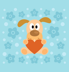 background with funny dog cartoon vector image