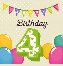 birthday card with candle number four vector image