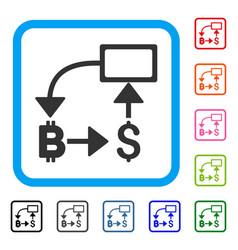 bitcoin dollar flow chart framed icon vector image