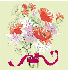 bouquet of poppies and daisies vector image