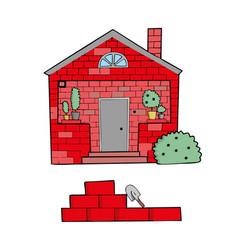 brick house on white background cute cartoon vector image