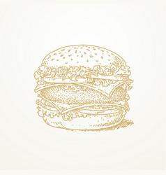 Burger sketch hand drawn vector