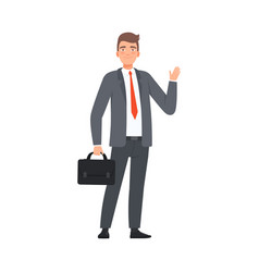 Businessman saying hello character vector