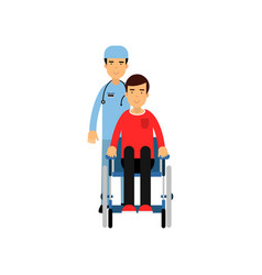 cartoon flat character of doctor with patient in vector image