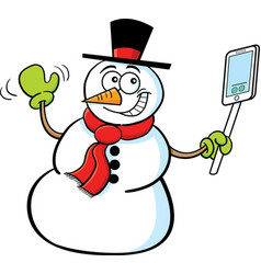 Cartoon smiling snowman holding a cell phone vector