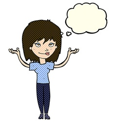Cartoon woman shrugging with thought bubble vector