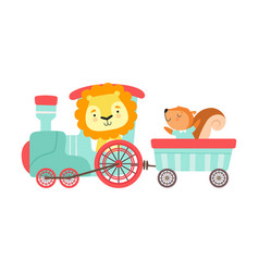 Cheerful red cheeked lion and squirrel driving toy vector