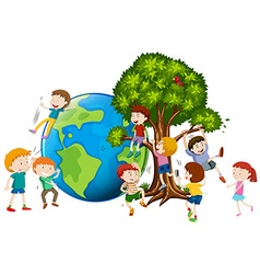 Children climbing up tree vector image