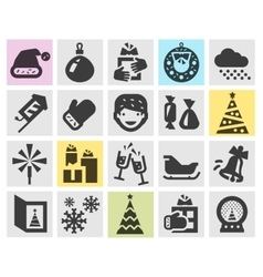 Christmas and new year set black icons signs and vector image vector image