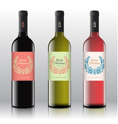 Christmas greetings wine bottle labels concept vector