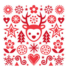Christmas scandinavian red greeting card vector