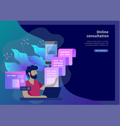 concept landing page template customer service vector image