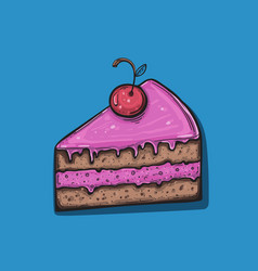 cute cartoon cake slice vector image
