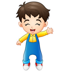 Cute little boy standing in jumpsuit waving vector
