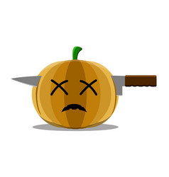 dead halloween pumpkin with a knife in its head vector image