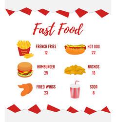 Fastfood menu template takeaway restaurant vector