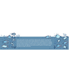 Fish collection isolated in doodle style vector