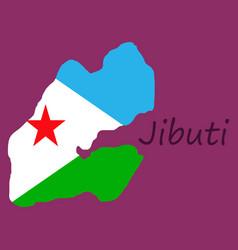 Flag map of djibouti vector