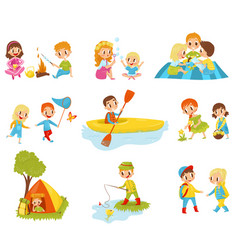 Flat set of little kids doing different vector