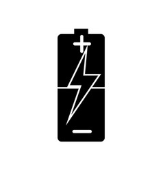 Glyph small battery with medium charge icon vector