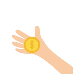 hand arm holding dollar sign golden coin money vector image