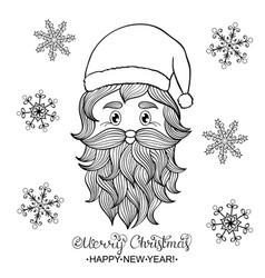 hand drawn head santa vector image