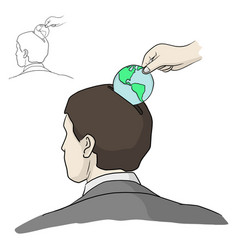 Hand put earth coin into head businessman vector