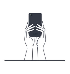 hands with smart phone isolated icon vector image