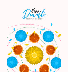 Happy diwali card hindu diya flower candle vector