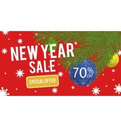 Happy New Year sale banner with 70 percent vector