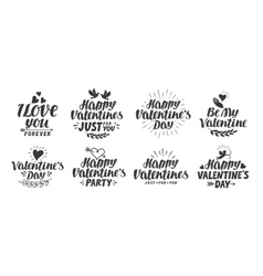 Happy Valentine s day Collection beautiful labels vector