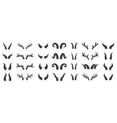 horn animal deer devil black glyph icon set vector image