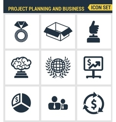 Icons set premium quality of project planning and vector image