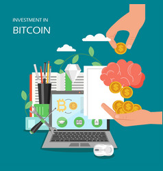 investment in bitcoin flat style design vector image