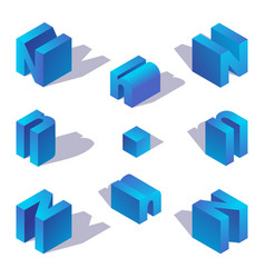 Isometric letter n english capital blue character vector