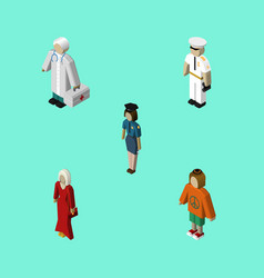 Isometric people set of seaman female vector