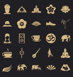 japanese culture icons set simple style vector image