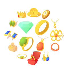 Jewelry items icons set cartoon style vector