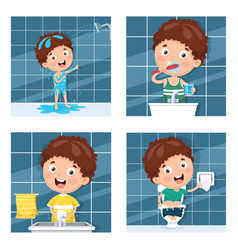 Kid bathing brushing teeth vector