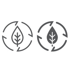 leaf in arrows line and glyph icon ecology vector image
