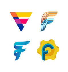 letters f logo set different style and colors f vector image