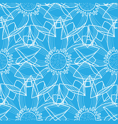 Lotus abstract blue seamless pattern vector
