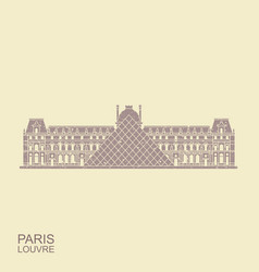 louvre in paris flat icon in retro style vector image