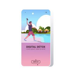 man throwing away smartphone digital detox concept vector image
